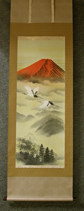 [ Red Fuji & Flying Cranes ]