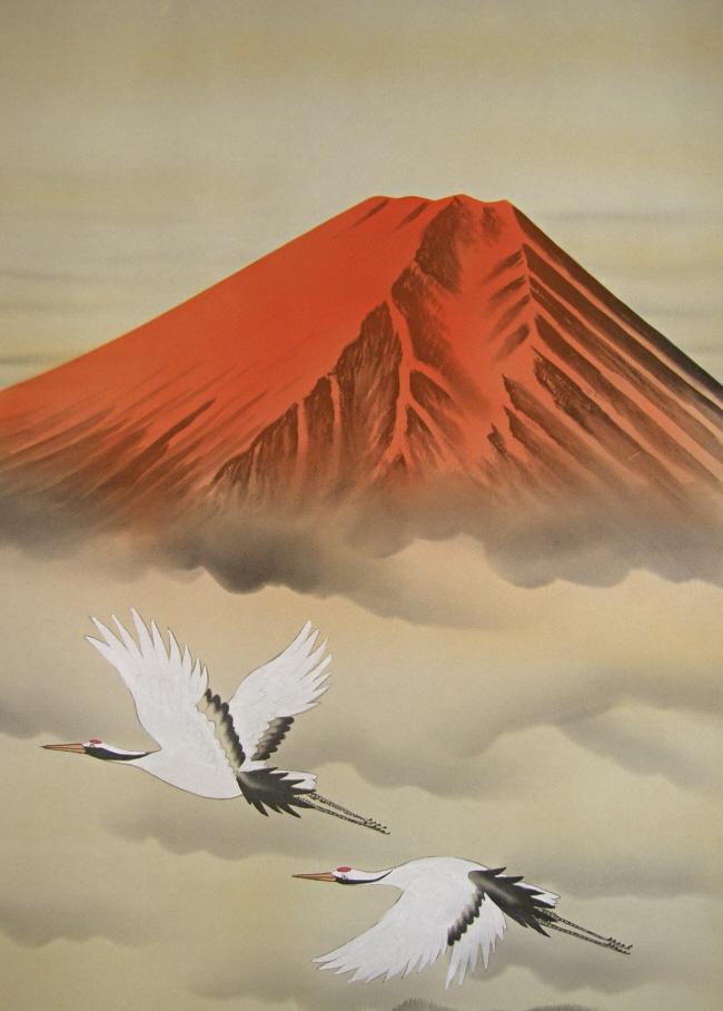 Red Mt. Fuji & Flying Cranes