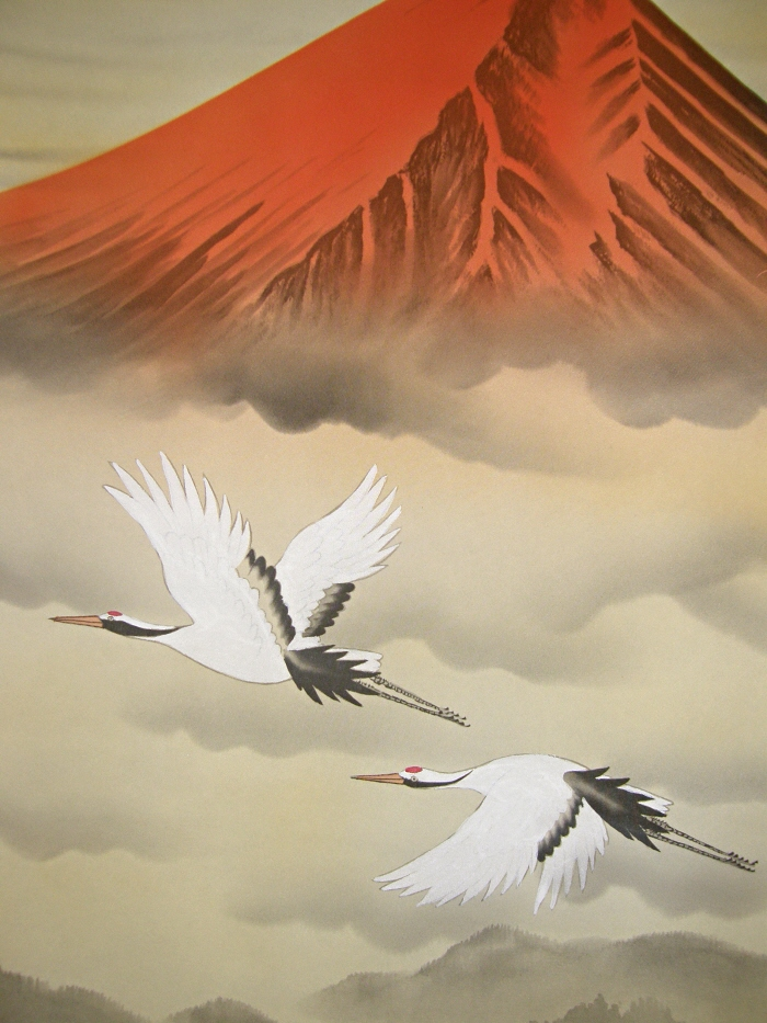 Red Mt. Fuji & Flying Tsuru Birds