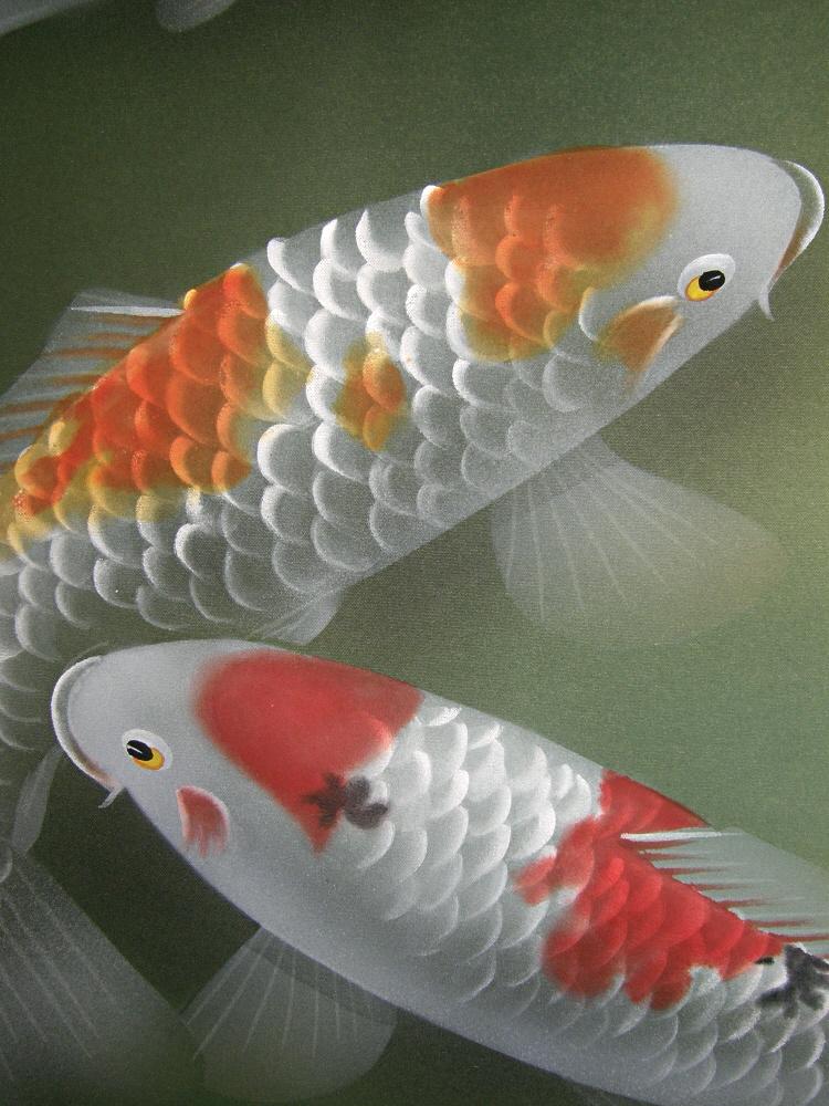 Ns 50009 swimming carp japanese brand new kakejiku for Japanese carp fish