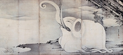 Elephant in the Zou-Gei zu Byobu Useki (Right)