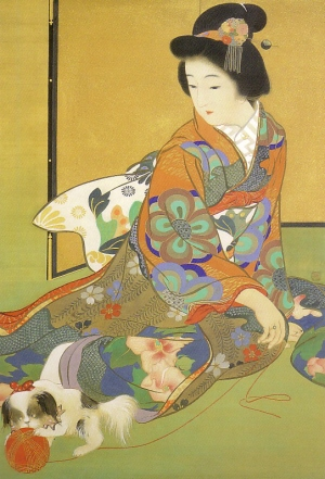 Fujo Chin to Asobu, Lady playing with Japanese Chin