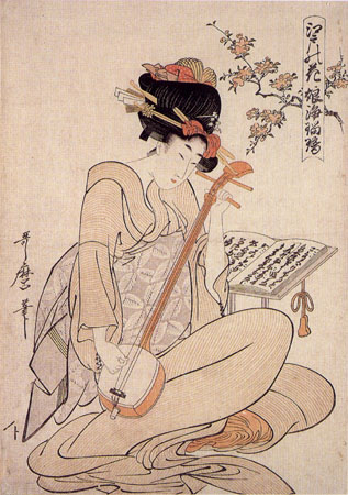 Edo no Hana - Musume Jyoruri, Girl playing Jyoruri