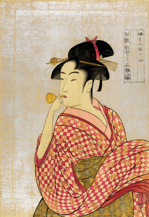 Poppin o Fuku Onna, Young Lady blowing on a Poppin 1790