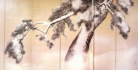 Matsu Tree in the Snow byobu folding screen
