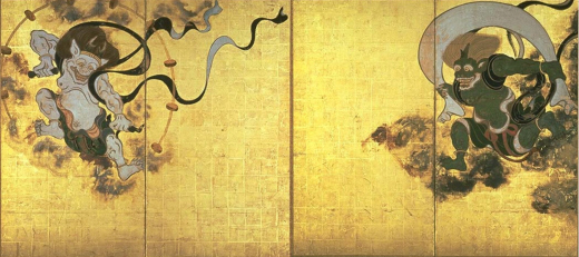 Fujin-Raijin-zu Byobu, a pair of folding screens