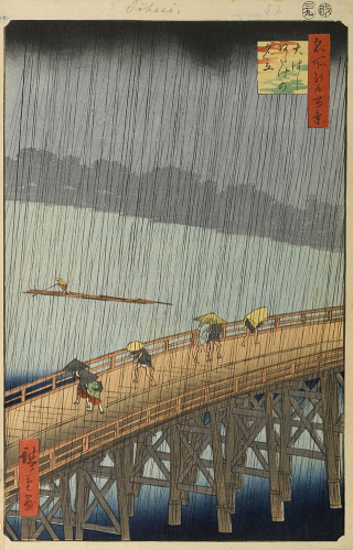 Sudden Shower over Shin-Ohashi Bridge and Atake,  from One Hundred Famous Views of Edo