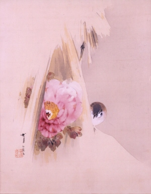 Peony and Sparrow in Snow 1898