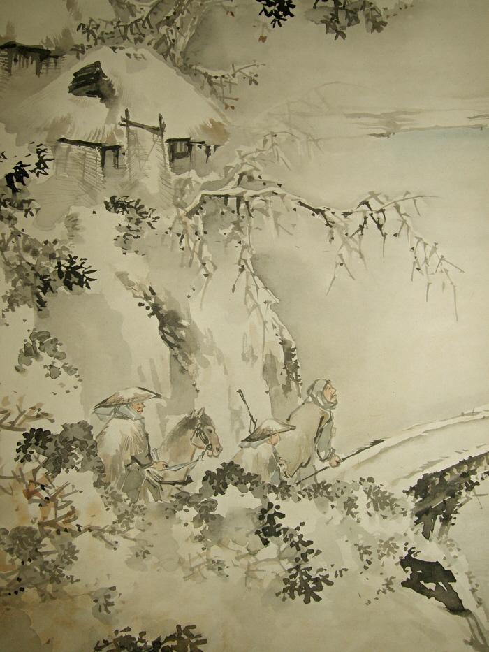 Sp 10043 Japanese Landscape View In Winter Antique