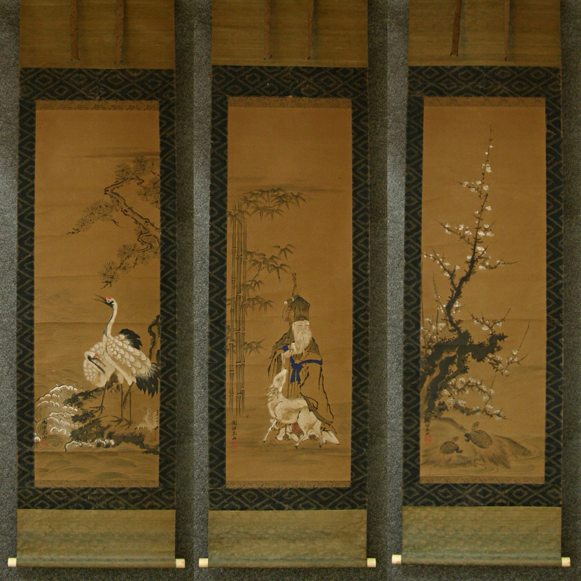 Antique Japanese Scroll: [ Jurojin God, Tsuru, Turtles, Matsu, Bamboo & Ume Flowers