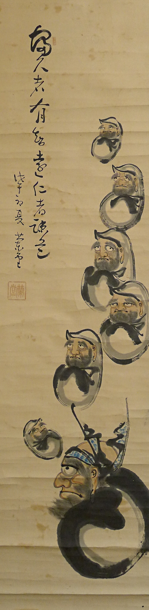 Bodhidharmas depicted with Japanese brush & Sumi ink