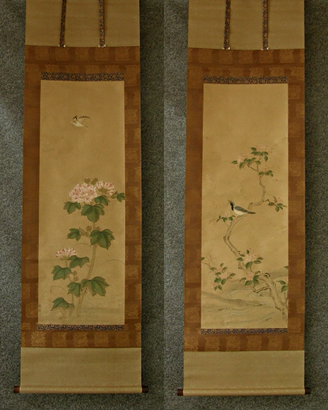 Antique Japanese Scroll: SP-40084 [ Flowers & Birds ] Japanese Antique Twin Scroll