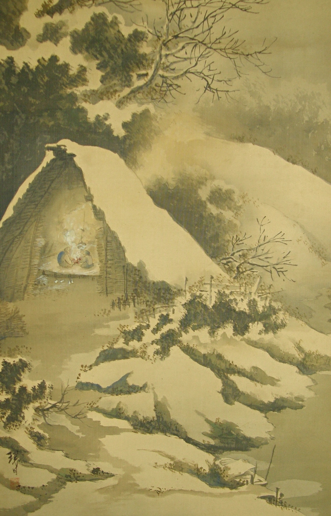 Ss 10120 Straw Hut In The Snow Japanese Antique