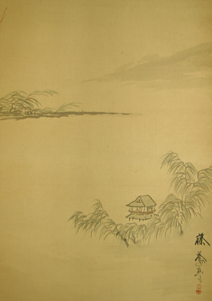 Sansui Landscape View with Willow Tree and Castle