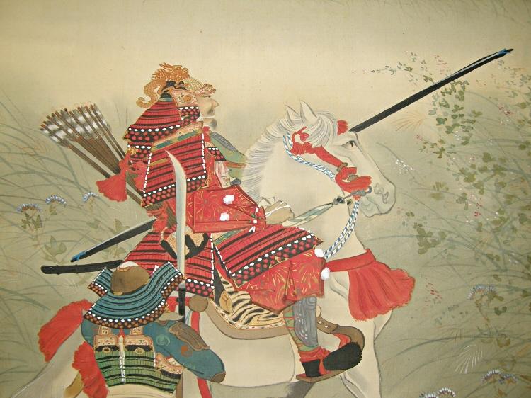 SS 30088 Famous Samurai in Battle Japanese Antique