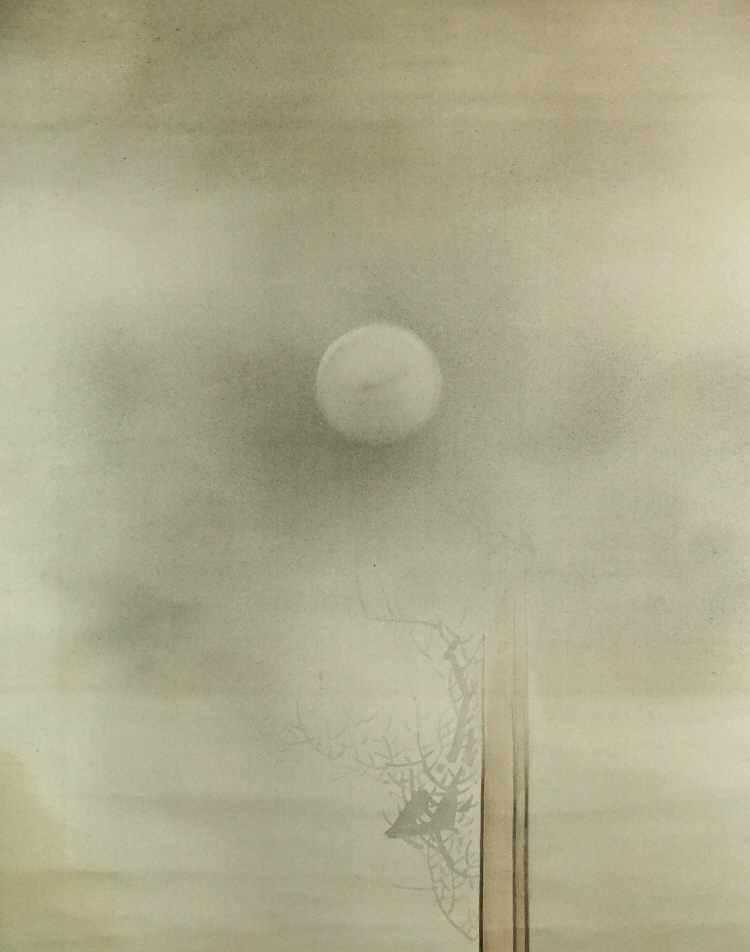 The Moon depicted in the Japanese style painting