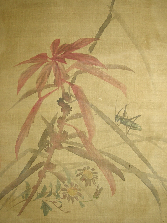 Ss 40058 Cricket Amp Autumn Flowers Japanese Antique