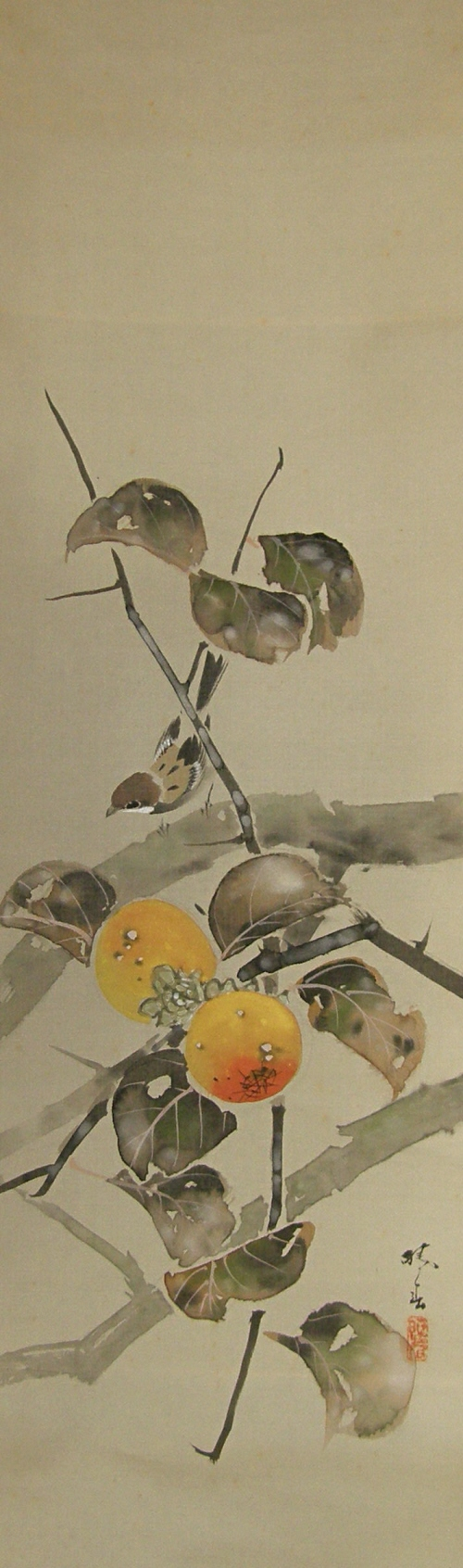 Japanese Date Plum Nuts and Leaves, Sparrow