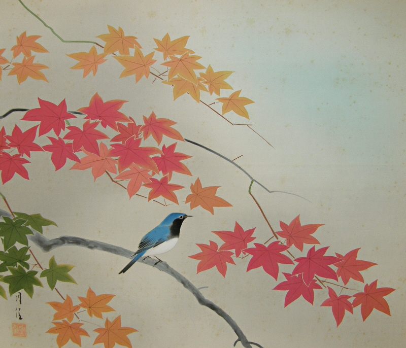 Bird and Japanese Maple Leaves