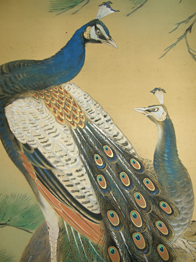 Ss 50159 Peacock Amp Peahen Japanese Antique Peafowl