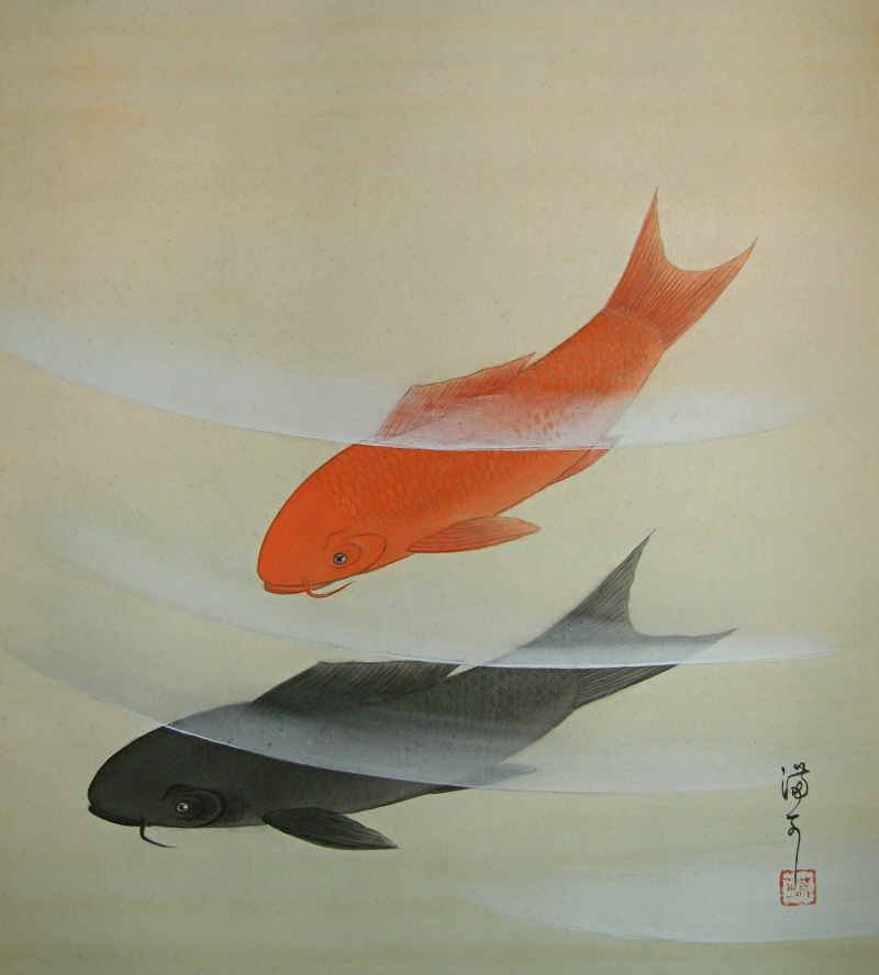 Japanese Carp Couple (Lucky Scroll)
